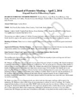 Board of Forestry Meeting Minutes 2014-04-02