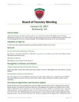 Board of Forestry Meeting Minutes 2017-01-12